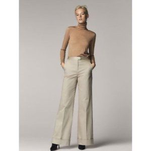 Massimo Dutti High Rise Wide Leg Cotton Trouser 4